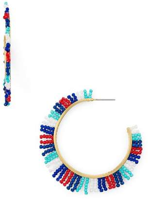 Rebecca Minkoff Beaded Fringe Hoop Earrings