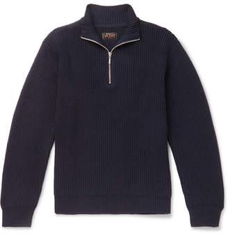 Beams Half-Zip Ribbed Wool-Blend Sweater