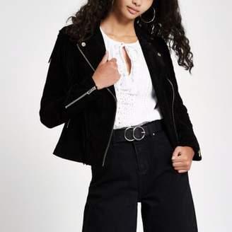 River Island Black suede fringe beaded biker jacket