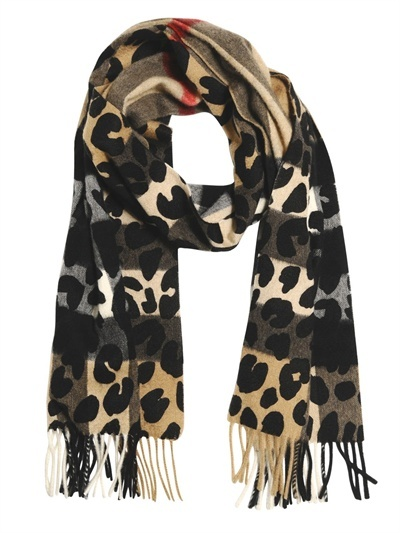 Burberry Leopard Printed Cashmere Scarf