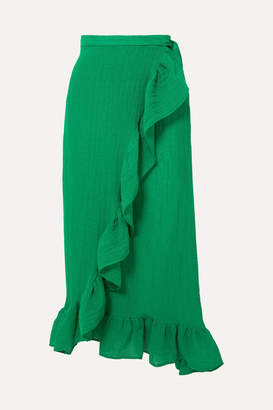 Lisa Marie Fernandez Ruffled Linen-blend Wrap Skirt - Green