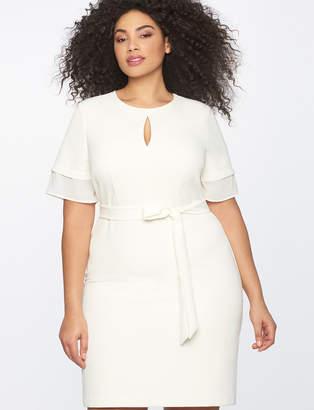 Tiered Sleeve Dress with Keyhole Neckline