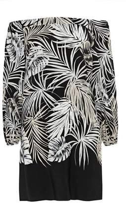 Wallis Petite Black Palm Print Bardot Dress