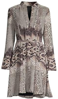 Natori Python Print Collarless Shirtdress