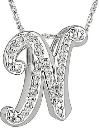 N. FINE JEWELRY 1/7 CT. T.W. Diamond Sterling Silver Initial Pendant Necklace