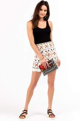 16dedcd3ad52 francesca's Kylie Embroidered Mini Skirt - White