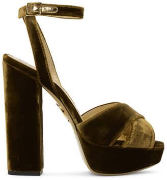Charlotte Olympia Tan Velvet Diana Platform Sandals