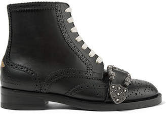 Gucci Queercore Embellished Leather Ankle Boots - Black