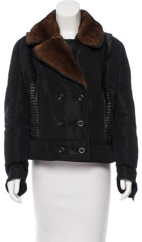 Valentino Valentino Mink-Trimmed Double-Breasted Coat