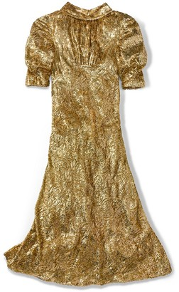 Michael Kors Gold Metallic Paisley Velvet Fil Coupe Dress