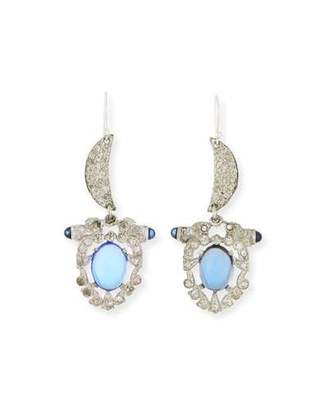 Lulu Frost One-of-a-Kind Crystal Crescent Moon Statement Earrings, Teal/Blue $438 thestylecure.com