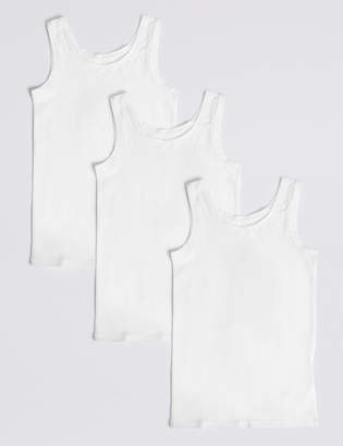 Marks and Spencer 3 Pack Cotton with Stretch Vests (18 Months - 16 Years)