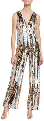 Aidan Mattox Sequin Striped V-Neck Jumpsuit