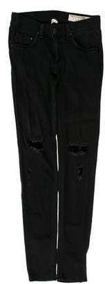 Rag & Bone Low-Rise Distressed Jeans