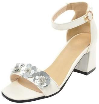 4f4e1e7820d7 Agodor Women s Mid Block Heel Open Toe Ankle Strap Pumps Flowers Cute Sandals  Summer Shoes