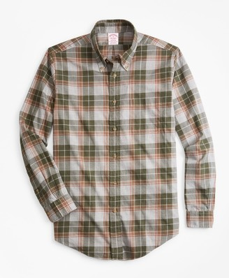 Brooks Brothers Madison Fit Olive Plaid Flannel Sport Shirt