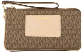 Michael Kors Mocha Signature Canvas Bedford Large Double Zip Wristlet (New with Tags)