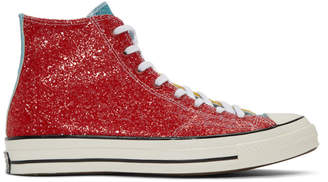 J.W.Anderson Red Converse Edition Glitter Chuck 70 High Sneakers