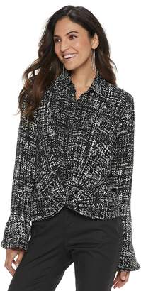 JLO by Jennifer Lopez Women's Printed Knot-Front Blouse