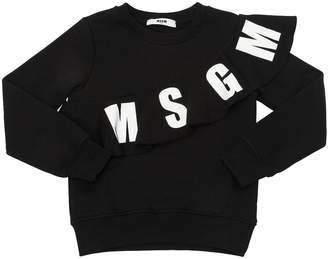 MSGM Logo Ruffle Cotton Sweatshirt