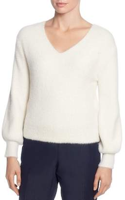 T Tahari Fuzzy Knit V-Neck Sweater