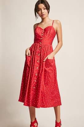 Forever 21 Polka Dot Button-Front Midi Dress