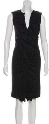Fendi Virgin Wool Ruffle-Trimmed Dress