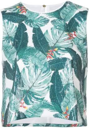 Rachel Zoe leaf pattern blouse