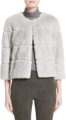 St. John Genuine Rex Rabbit Fur Jacket