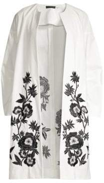 Josie Natori Embroidered Open Front Topper