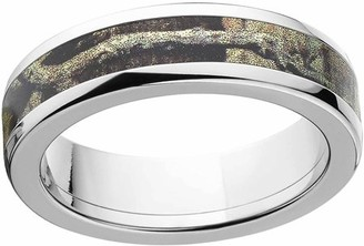 Mossy Oak Break Up Infinity Men's Camo 6mm Stainless Steel Wedding Band with Cross Brushed Edges and Deluxe Comfort Fit