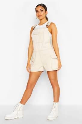 boohoo Cargo Pocket Dungaree Shorts
