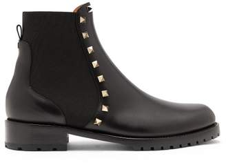 96b2ef5ddc0 Valentino Rockstud Beatle Leather Chelsea Boots - Womens - Black