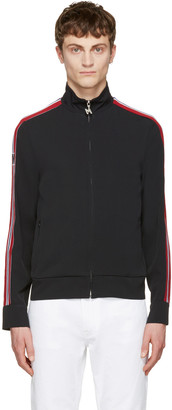 MSGM Black Striped Tape Zip Track Jacket $520 thestylecure.com