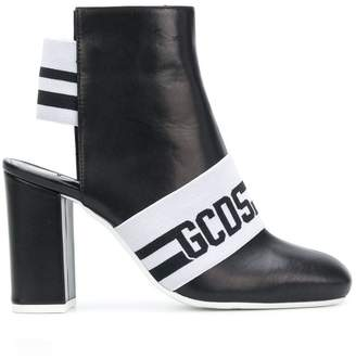 Gcds logo open heel boots