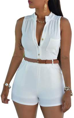 7cac0a9392 Pinkyee Women s Sexy Sleeveless Belted Short Rompers Casual Summer Jumpsuits  White