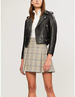 Claudie Pierlot High-waist pleated checked woven mini skirt