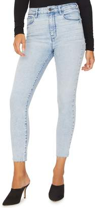 Sanctuary Social High Rise Raw Hem Ankle Skinny Jeans