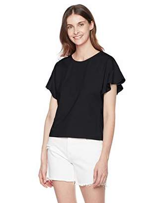 Ruby Diva Women's Round Neck with Ruffle Sleeve T Shirt L