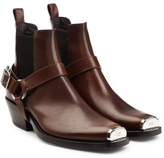 Calvin Klein Western Harness Leather Ankle Boots