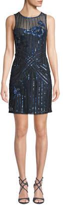 Parker Black Lorenza Beaded Mini Dress
