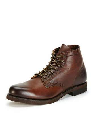 Frye Men's Prison Leather Boot with Lugged-Sole, Dark Brown