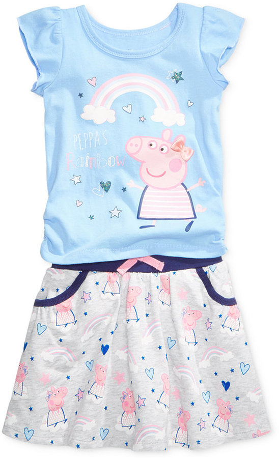 Nickelodeon Nickelodeon's Peppa Pig 2-Pc. Rainbow T-Shirt and Skirt Set, Toddler and Little Girls (2T-6X)