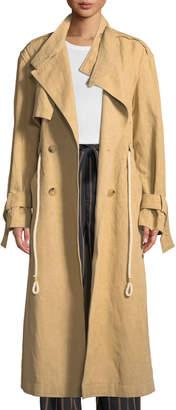 Vince Long Linen/Cotton Drawstring Trench Coat
