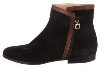 Salvatore Ferragamo Suede Round-Toe Ankle Boots