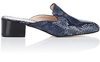Barneys New York Women's Snakeskin-Stamped Leather Mules - Blue