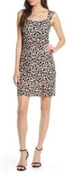 Sequin Hearts Animal Print Scuba Sheath Dress