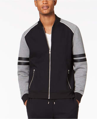 INC International Concepts I.n.c. Men's Ramone Ottoman Ribbed Faux Leather Trim Track Jacket, Created for Macy's