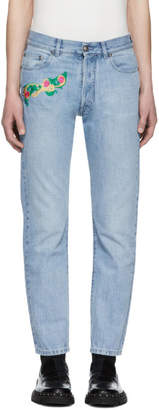 Versace Blue Embroidered Cropped Jeans