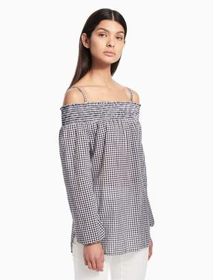 Calvin Klein gingham off-shoulder top